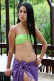 Beautiful Asian woman wearing a bikini and sarong. poster