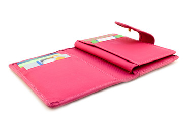 Pink wallet with cards