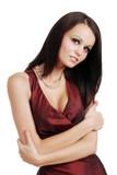 Attractive brunette woman hugging herself poster