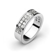 White gold wedding ring with white diamonds, cut princess, invis