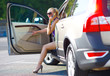 woman with great legs exit the car