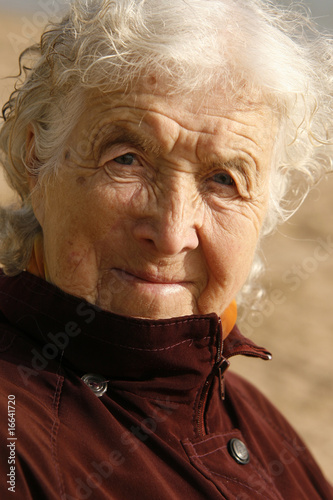 Old woman with gray hair