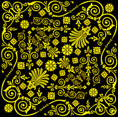 yellow on black curl background