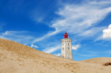 rubjerg knude lighthouse and dunes in denmark