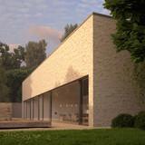 Contemporary brick house with garden