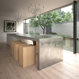 Modern steel kitchen island (3D render)
