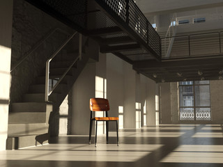 Chair in minimalist interior (3D render)