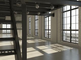 White minimalist loft interior (3D render)