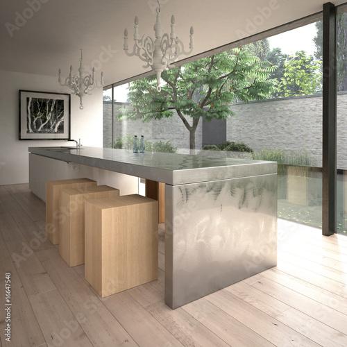 Modern steel kitchen island (3D render)