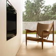 Designer armchair and LCD television