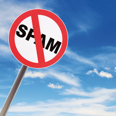 no spam sign with blue sky background