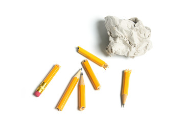 Broken Pencils and Paper Ball