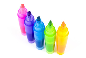 Five colorful highlighters