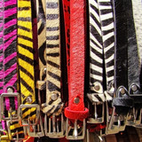 zebra motif belts poster