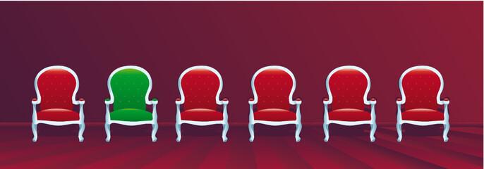 Fauteuils baroques alignés - le jury