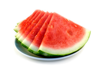 Cut watermelon on plate