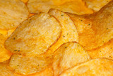 salty and spiced potato fries crisps on background poster