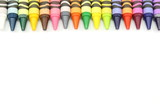 Border of crayons in array of colors. poster