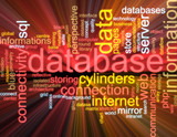 Database word cloud glowing poster