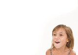 A 6-7 year-old girl looks surprised or thrilled. poster