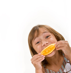 A young girl with an orange peel smile