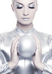 Beautiful cyber woman with silver ball ....