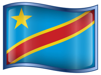 Congo Flag Icon, isolated on white background