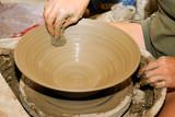 Pottery handcraft close-up at evening greek light poster