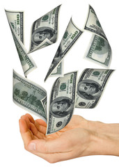 money fall in hands