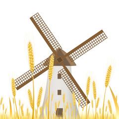 Moulin dans un champ de blé