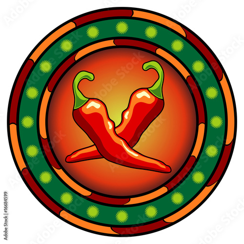 Mexican chili peppers logo with hot colors over white