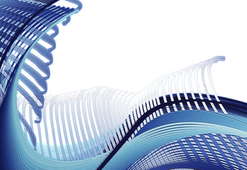 abstract illustration, blue and beige stripes white background