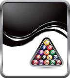 billiard balls on black swoosh background poster