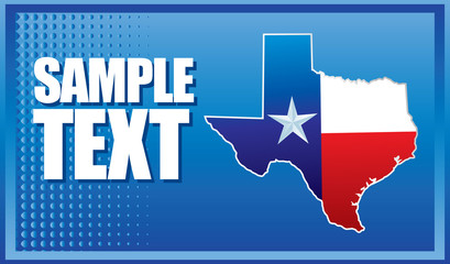 Texas icon on blue halftone banner