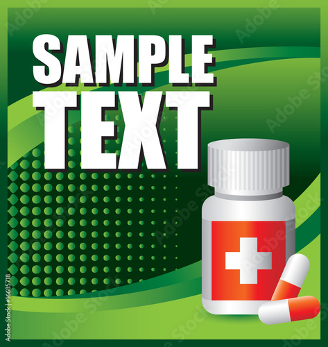 medical pills on green halftone backdrop
