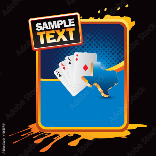texas hold em' on blue grunge background
