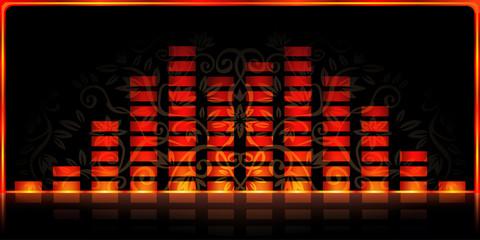 Fire-styled spectrum analyzer on black decorated background