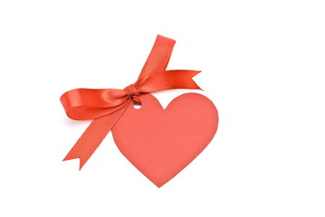 """Bow with cardboard tag """"heart """""""