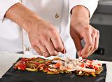 Chef preparing pasta roll poster