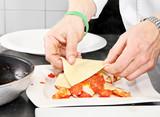 Chef preparing  lasagna poster