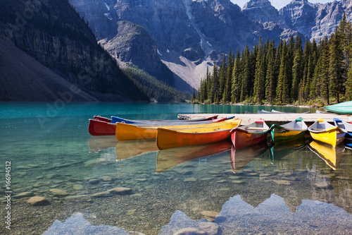 Canoes on Moraine Lake