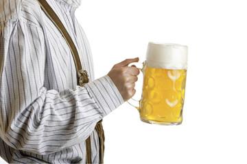 Man holding Oktoberfest beer stein - Masskrug