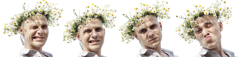 summer man with chamomile diadem isolated on white
