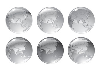 gray globe icons with different continents.