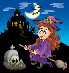 Cute witch on broom with mansion
