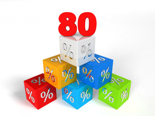 80 - eighty Percent - pyramid cube - Objects over white