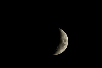 Waxing crescent moon closeup isolated against a black night sky