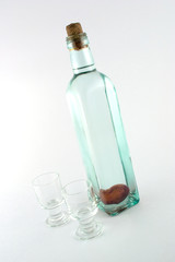 isolated bottle of alcohol with jigger