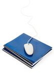 Blue school textbook and computer mouse poster