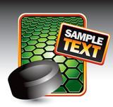 Hockey puck on green hexagon banner poster